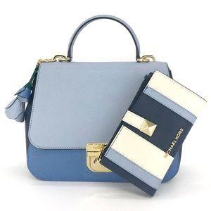 3PCS Michael Kors Bridgette Messenger Bag Wallet